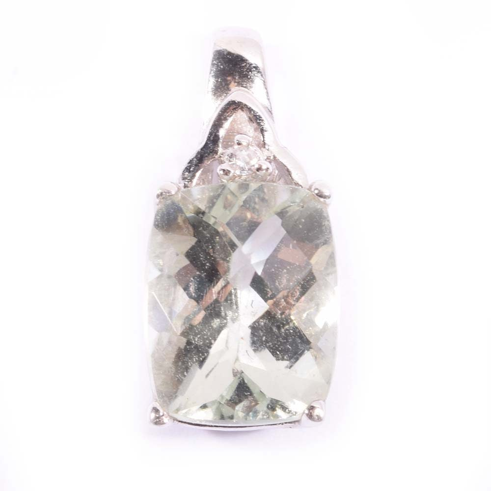 Sterling Silver 3.50 CT Green Quartz and Cubic Zirconia Pendant
