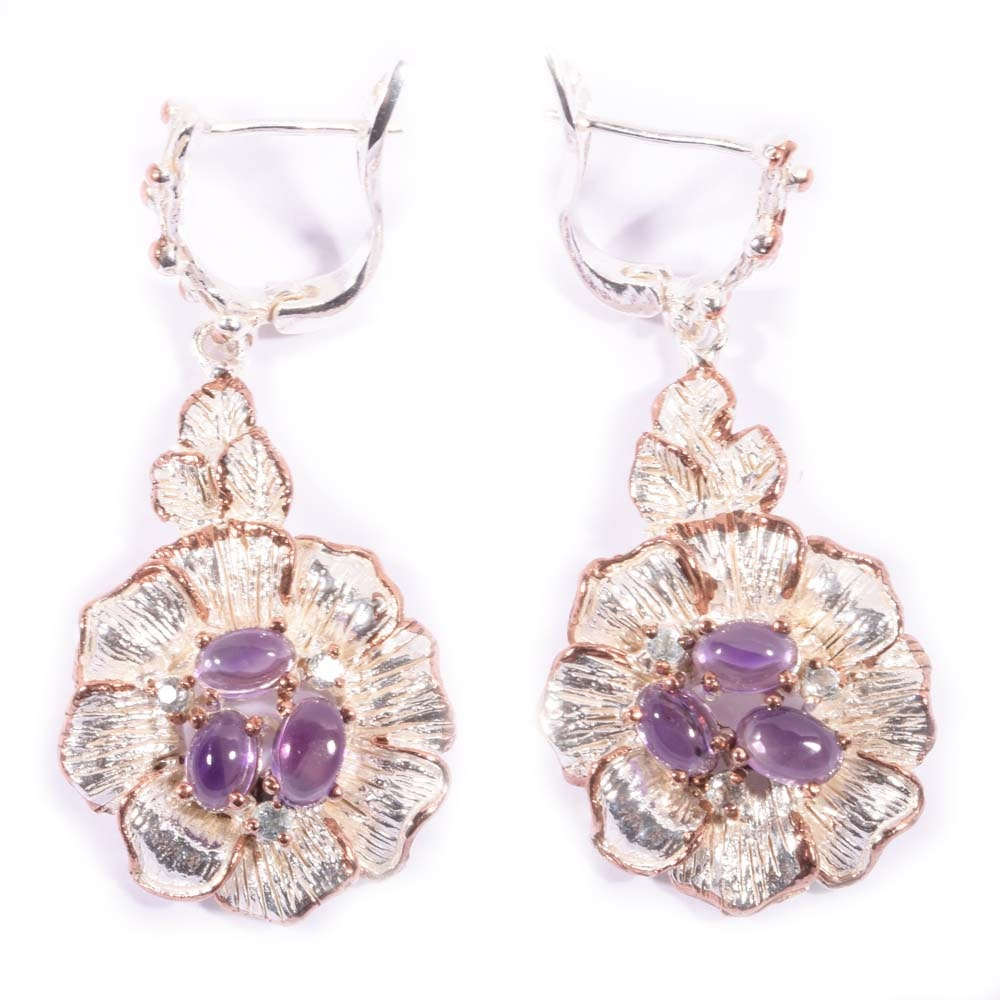 Sterling Silver 2.30 CTW Amethyst Dangle Flower Earrings