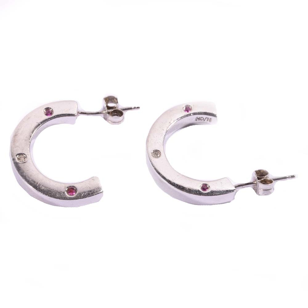 Sterling Silver Diamond and Pink Sapphire Hoop Earrings