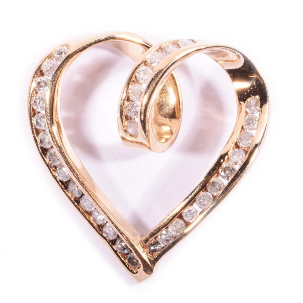 10K Yellow Gold Open Diamond Heart Slide Pendant