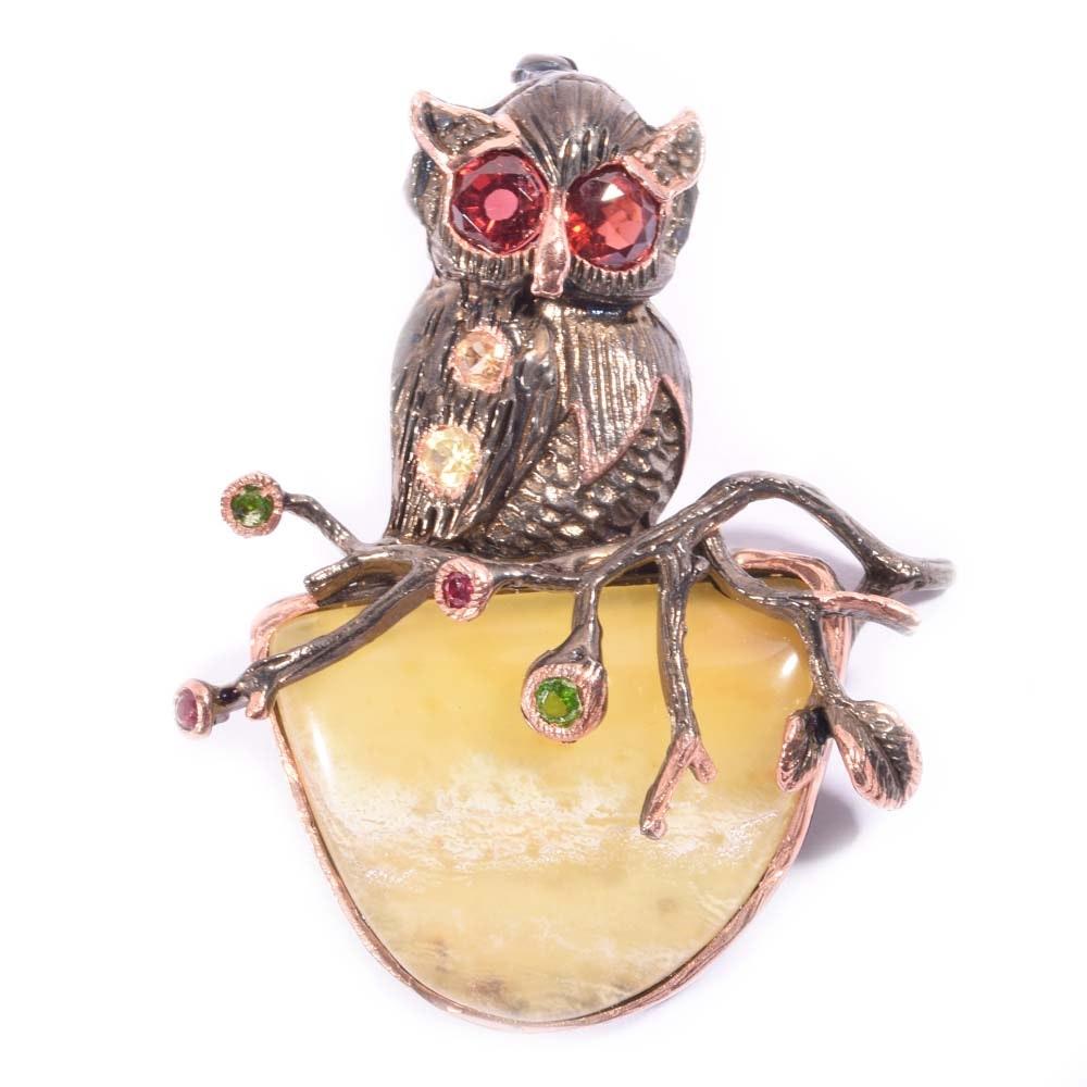 Sterling Silver Multi-Colored Gemstone Owl Brooch