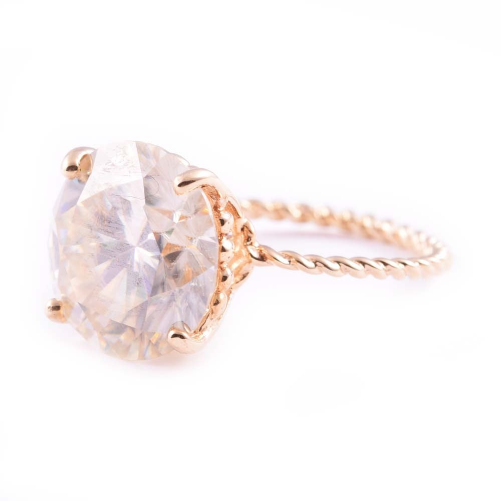 14K Yellow Gold Moissanite Solitaire Ring