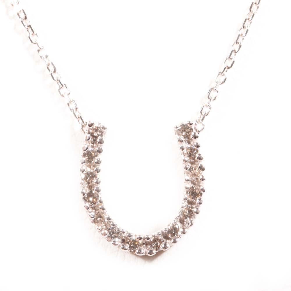 14K White Gold Diamond Horseshoe Pendant Necklace