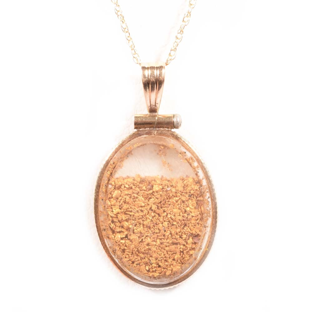 14K Yellow Gold Framed Gold Flake Pendant on a 10K Yellow Gold Chain