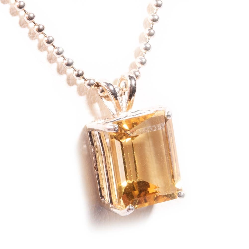 Sterling Silver 4.24 CT Citrine Pendant Necklace