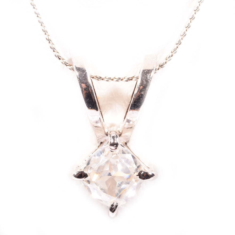 Sterling Silver Moissanite Solitaire Pendant Necklace