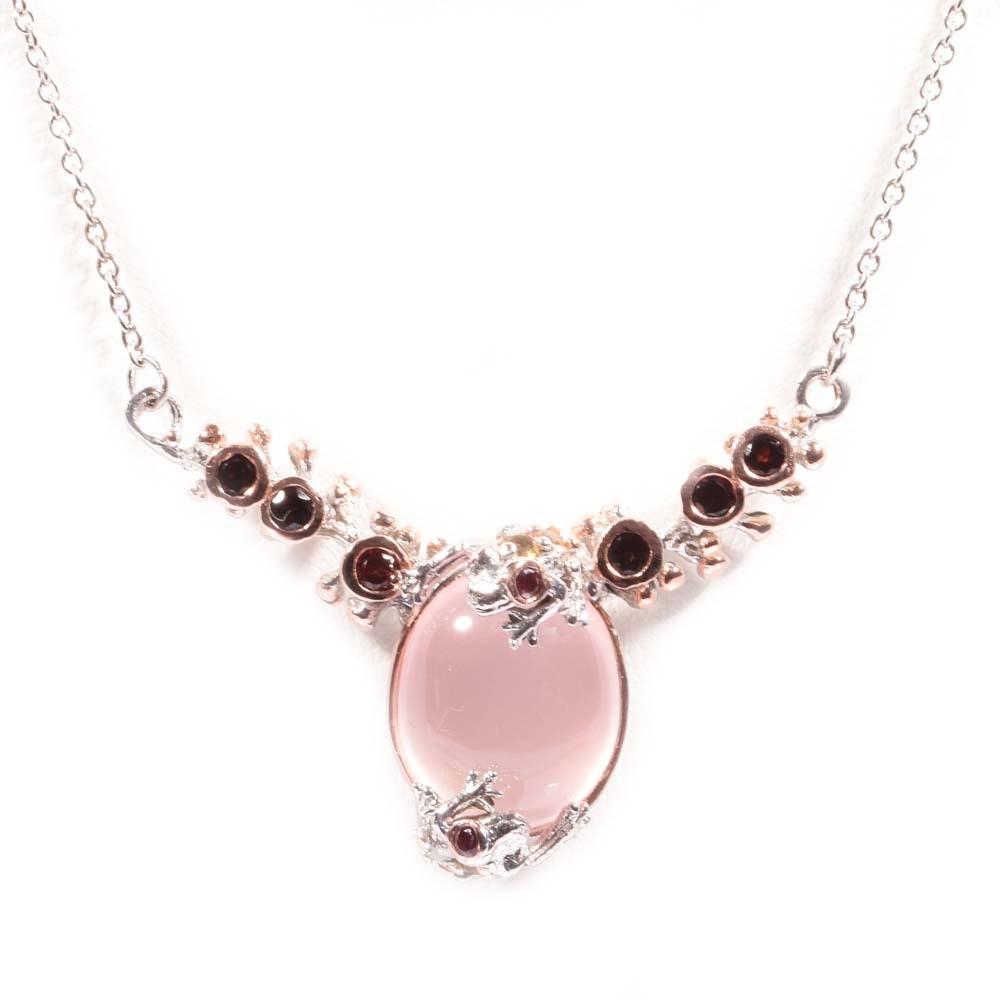 Sterling Silver 11.65 CT Rose Quartz, Garnet and Citrine Pendant Necklace
