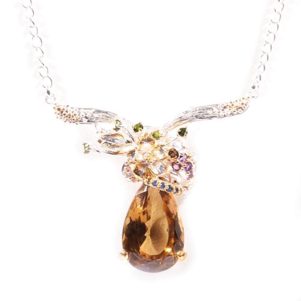 Sterling Silver 18.07 CT Citrine and Multi-Colored Gemstone Flower Necklace