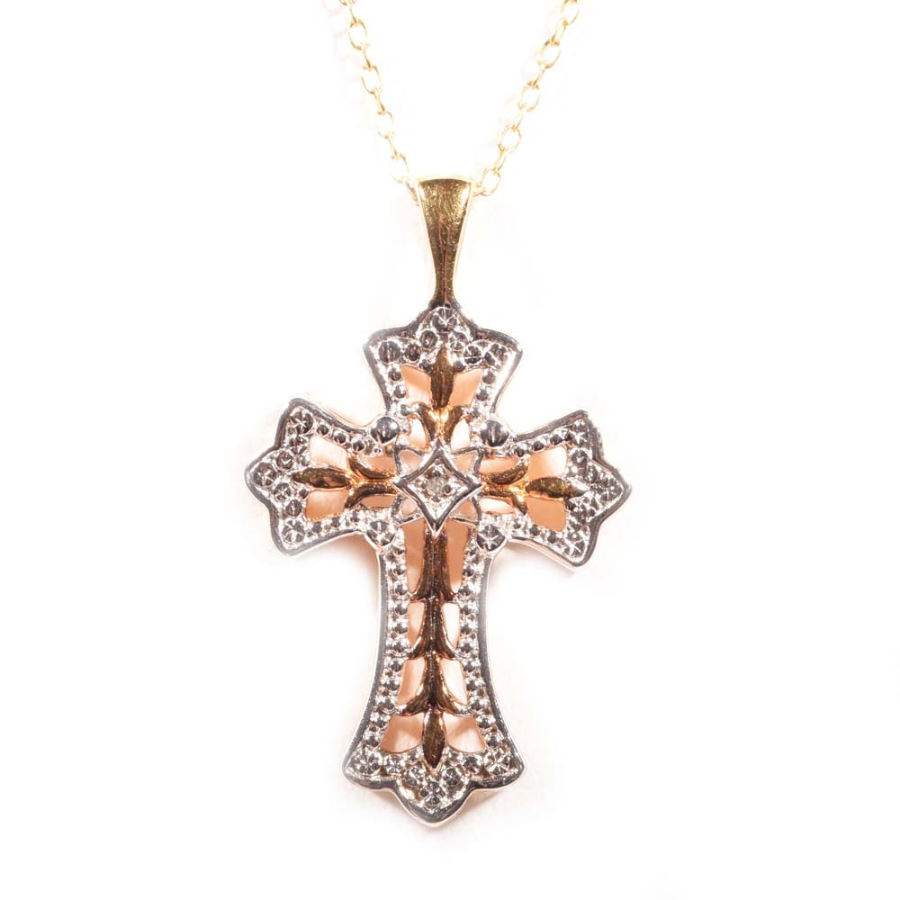 Gold Wash Over Sterling Silver Diamond Cross Pendant Necklace