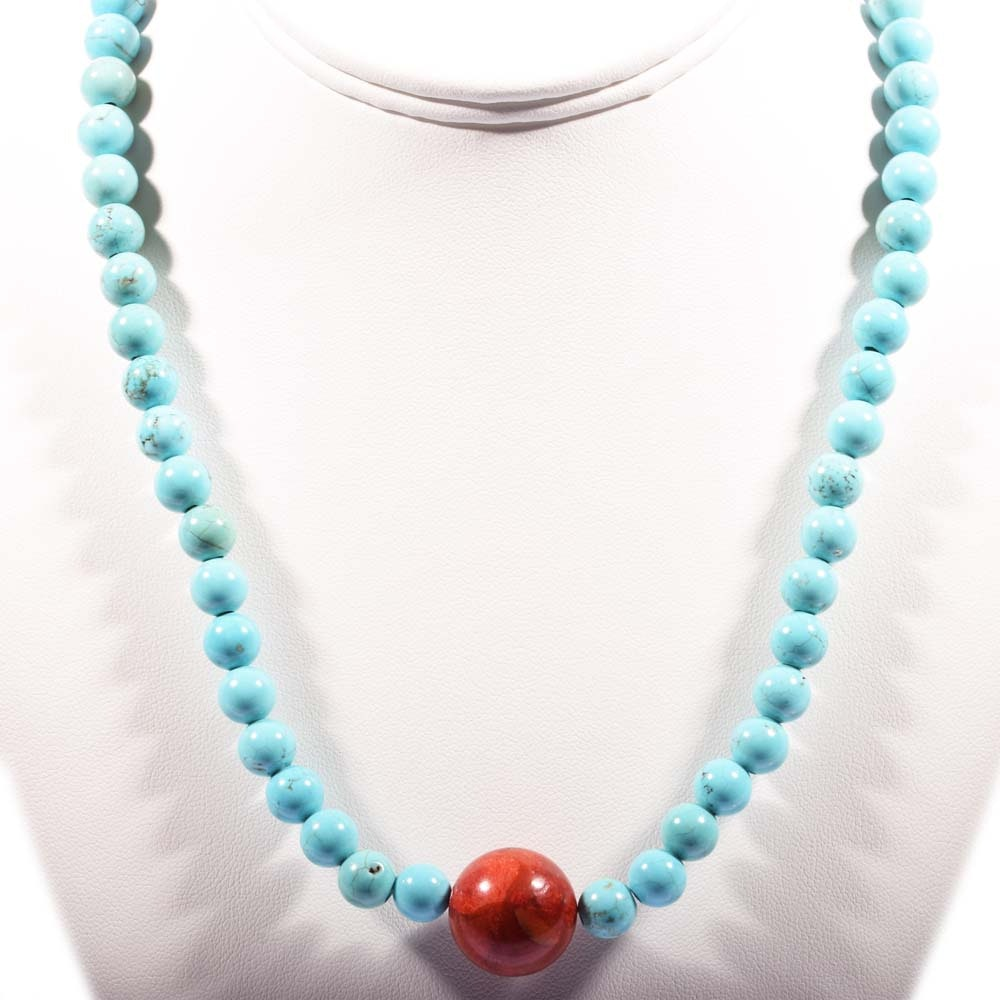 Sterling Silver Turquoise and Coral Bead Strand