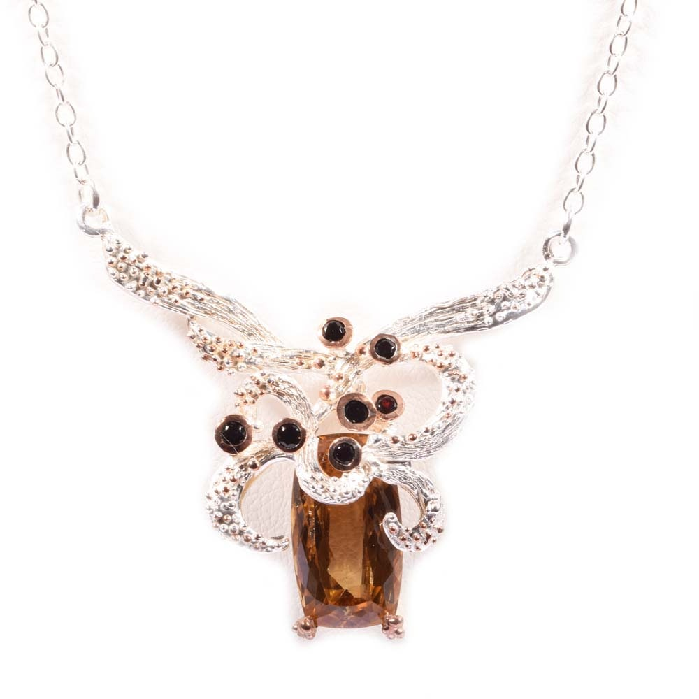 Sterling Silver 14.21 CT Citrine and Garnet Necklace