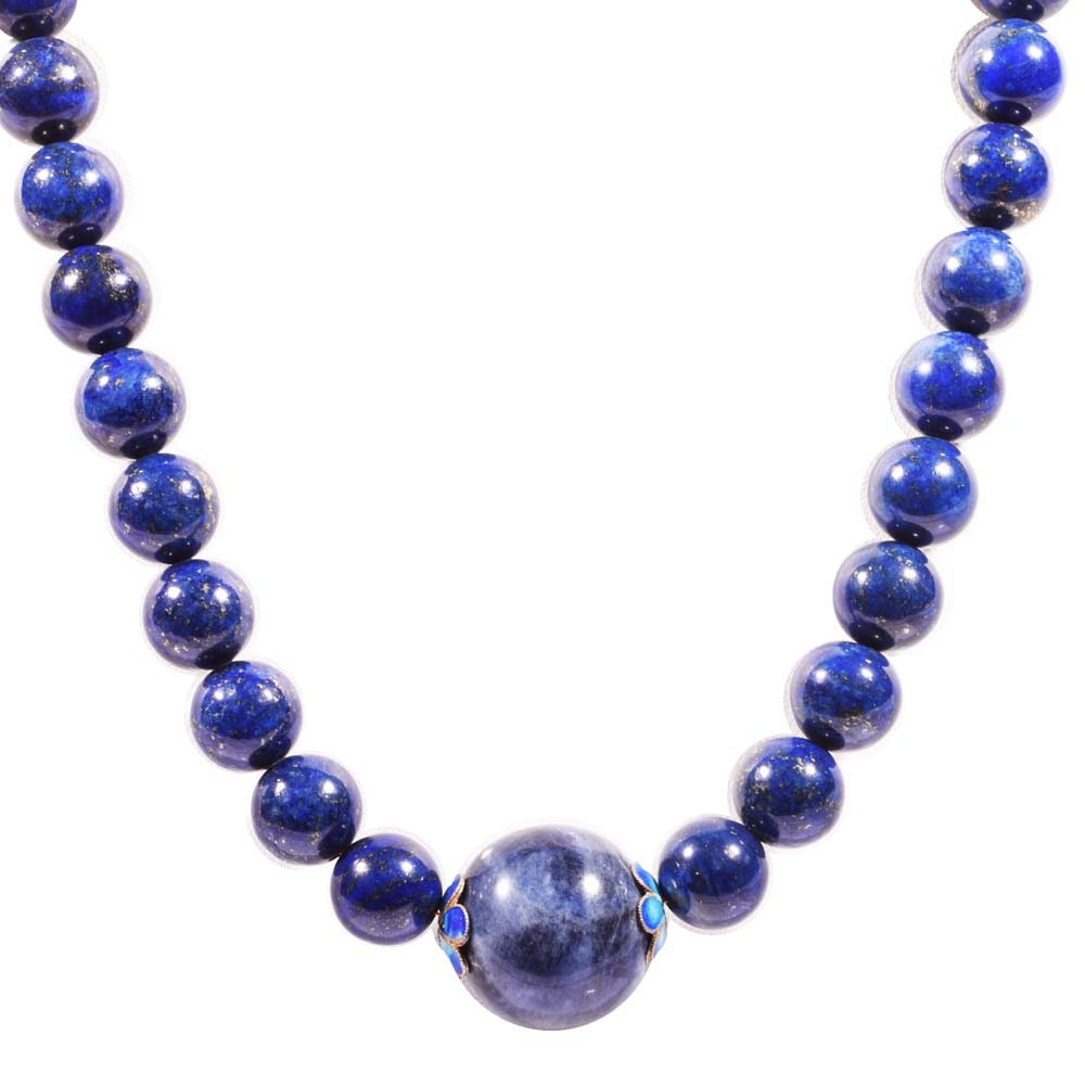Gold Filled Lapis Lazuli Bead Strand Necklace