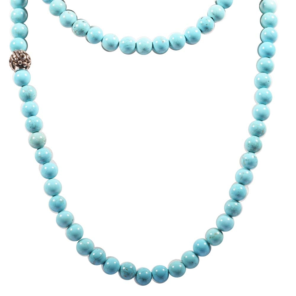 Sterling Silver Turquoise Bead Strand Necklace