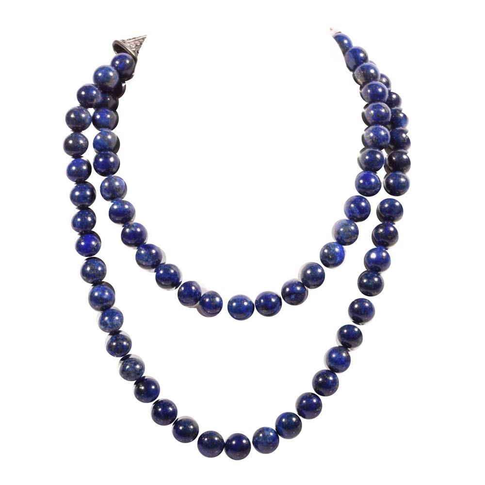 Sterling Silver Lapis Lazuli Bead Strand