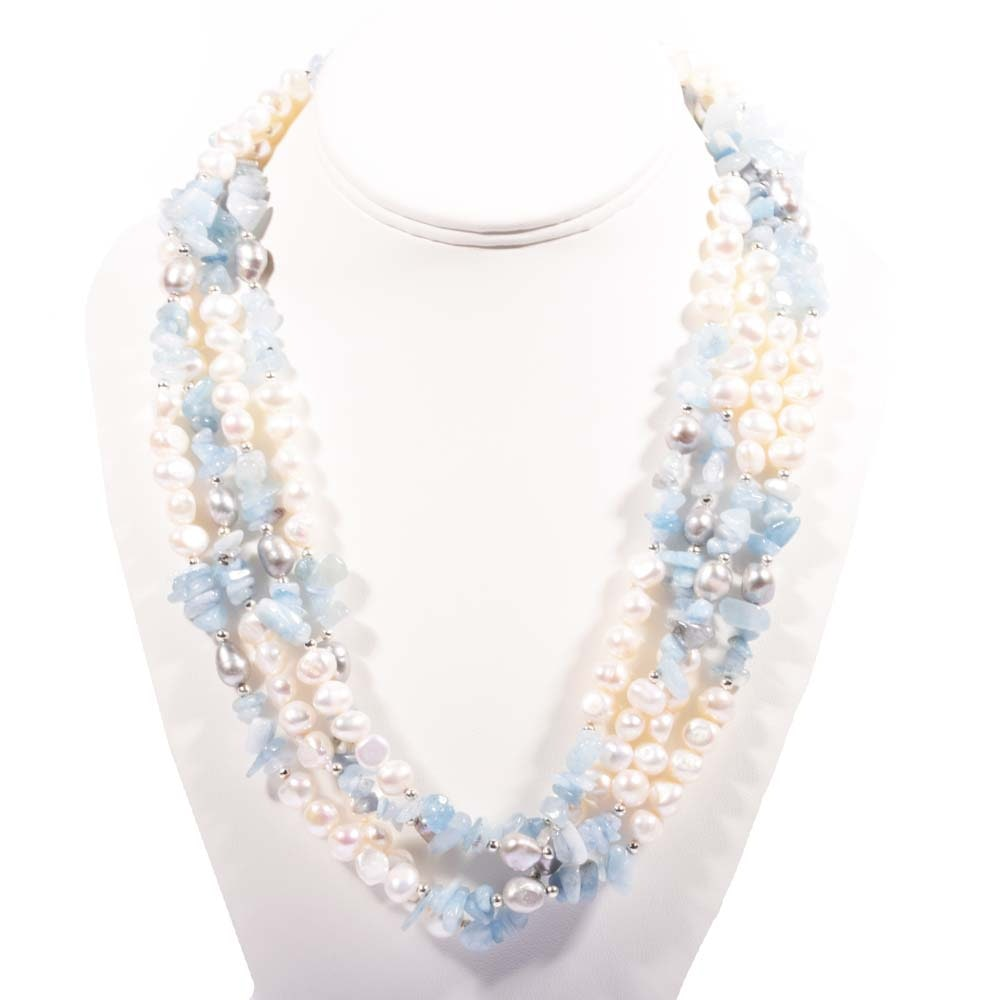 Plated Silver Aquamarine and Freshwater Pearl Endless Strand