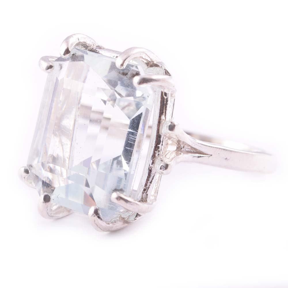 Sterling Silver 8.16 CT Aquamarine Ring