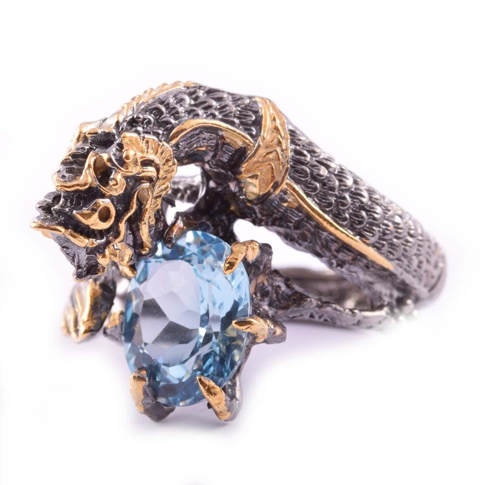Sterling Silver 5.19 CT Blue Topaz Dragon Ring