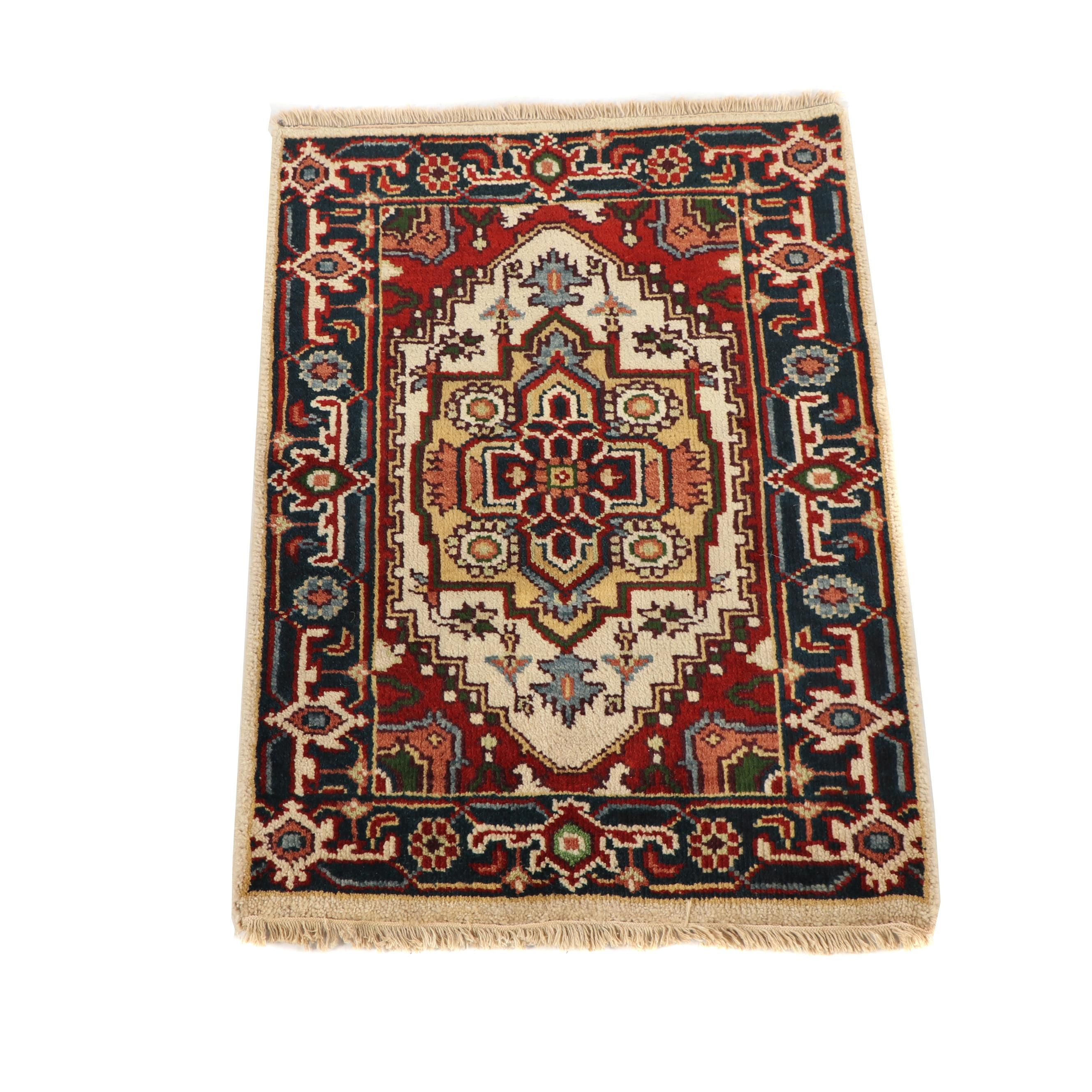 Hand-Knotted Indo-Heriz Wool Accent Rug