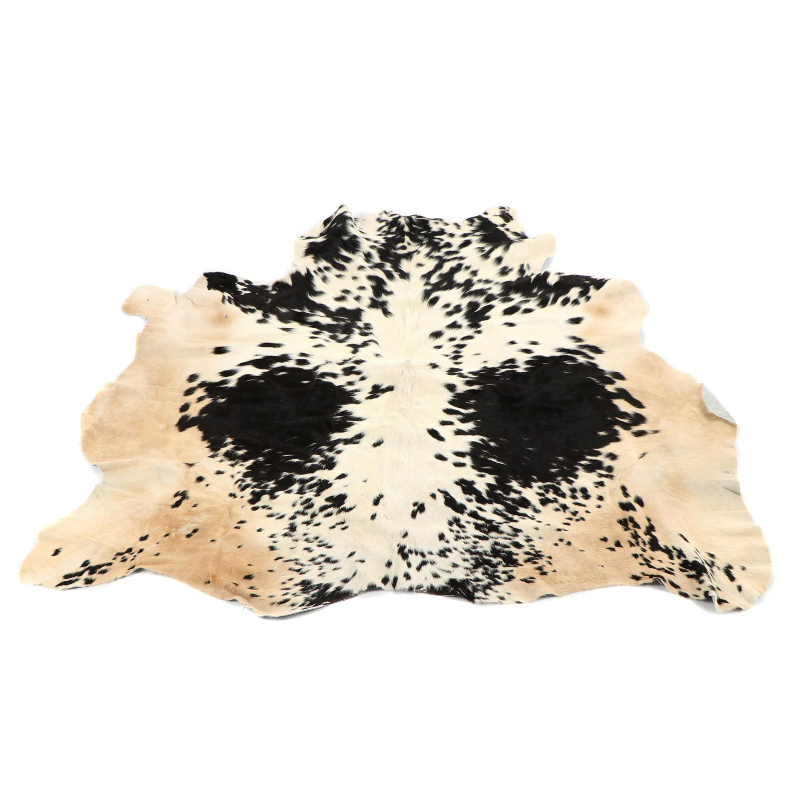 Natural White and Black Spotted Cowhide Floor Covering