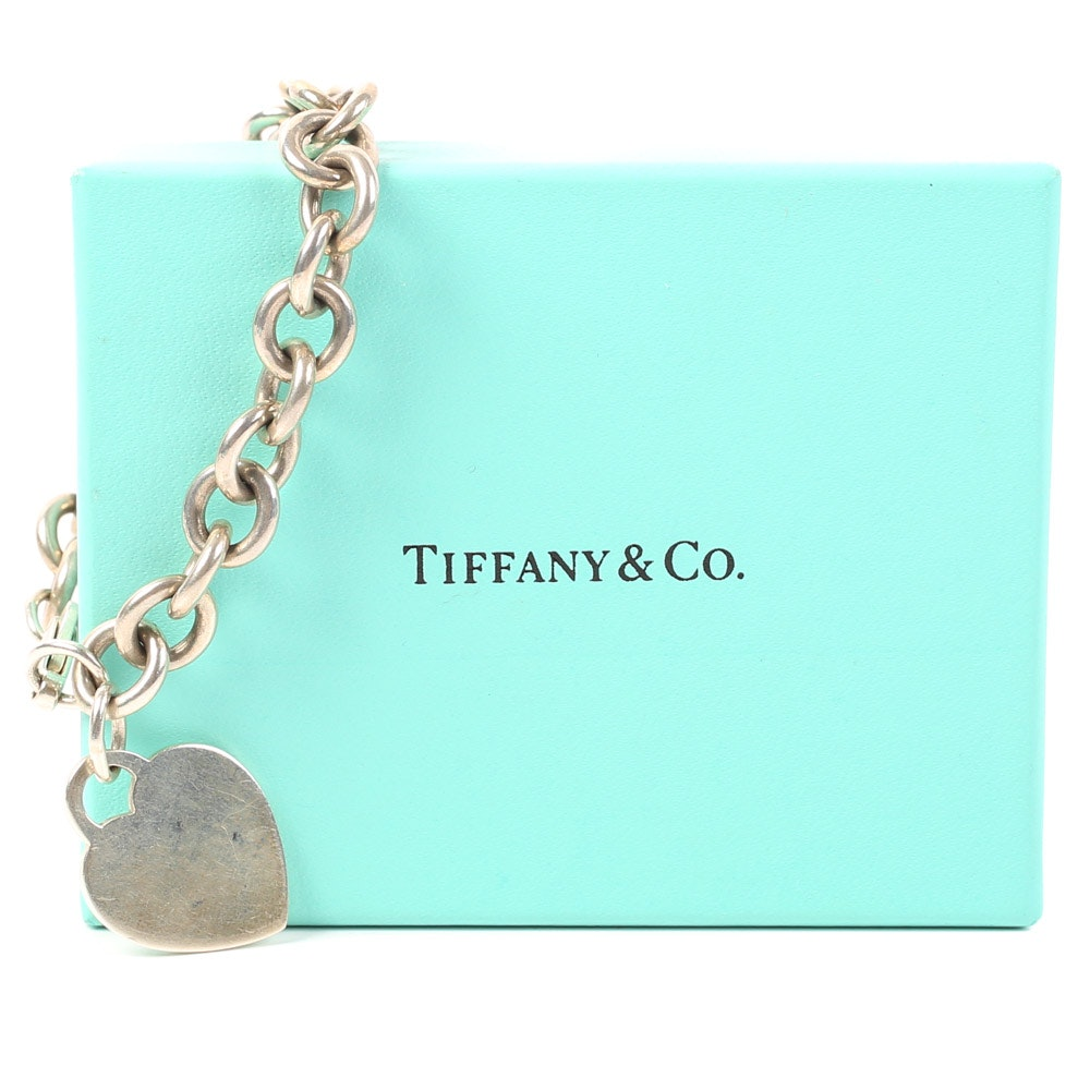 Tiffany & Co. Sterling Silver Link Bracelet and Heart Charm
