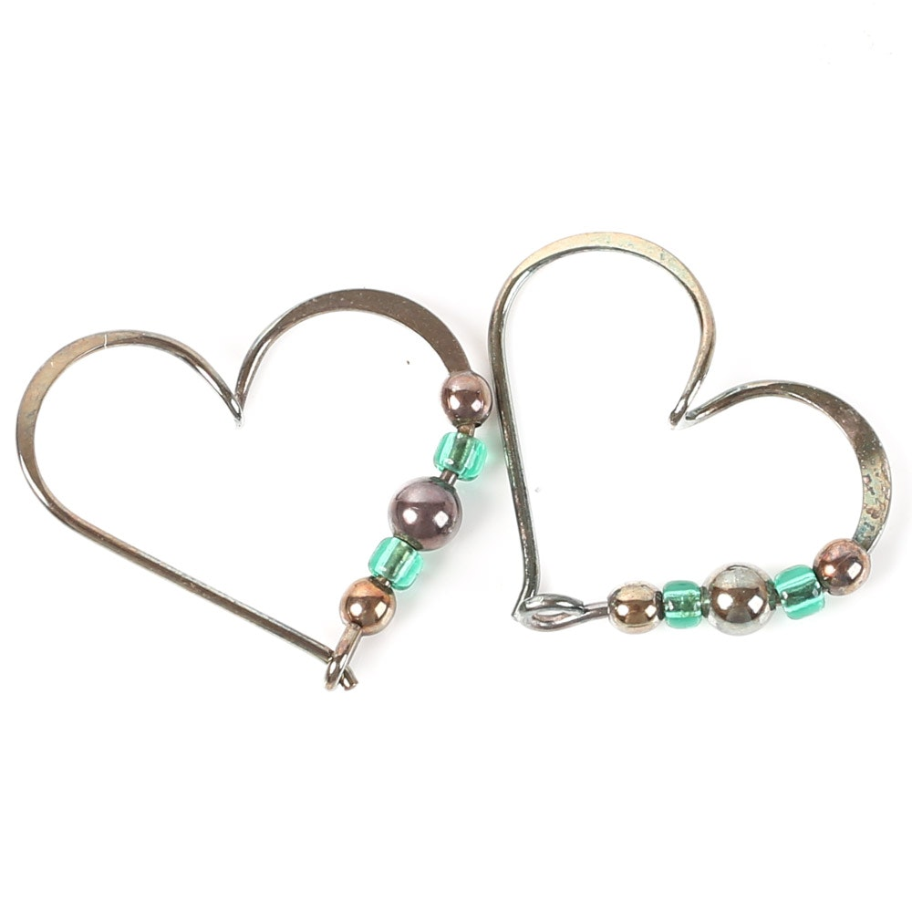Sterling Silver Open-Heart Beaded Earrings