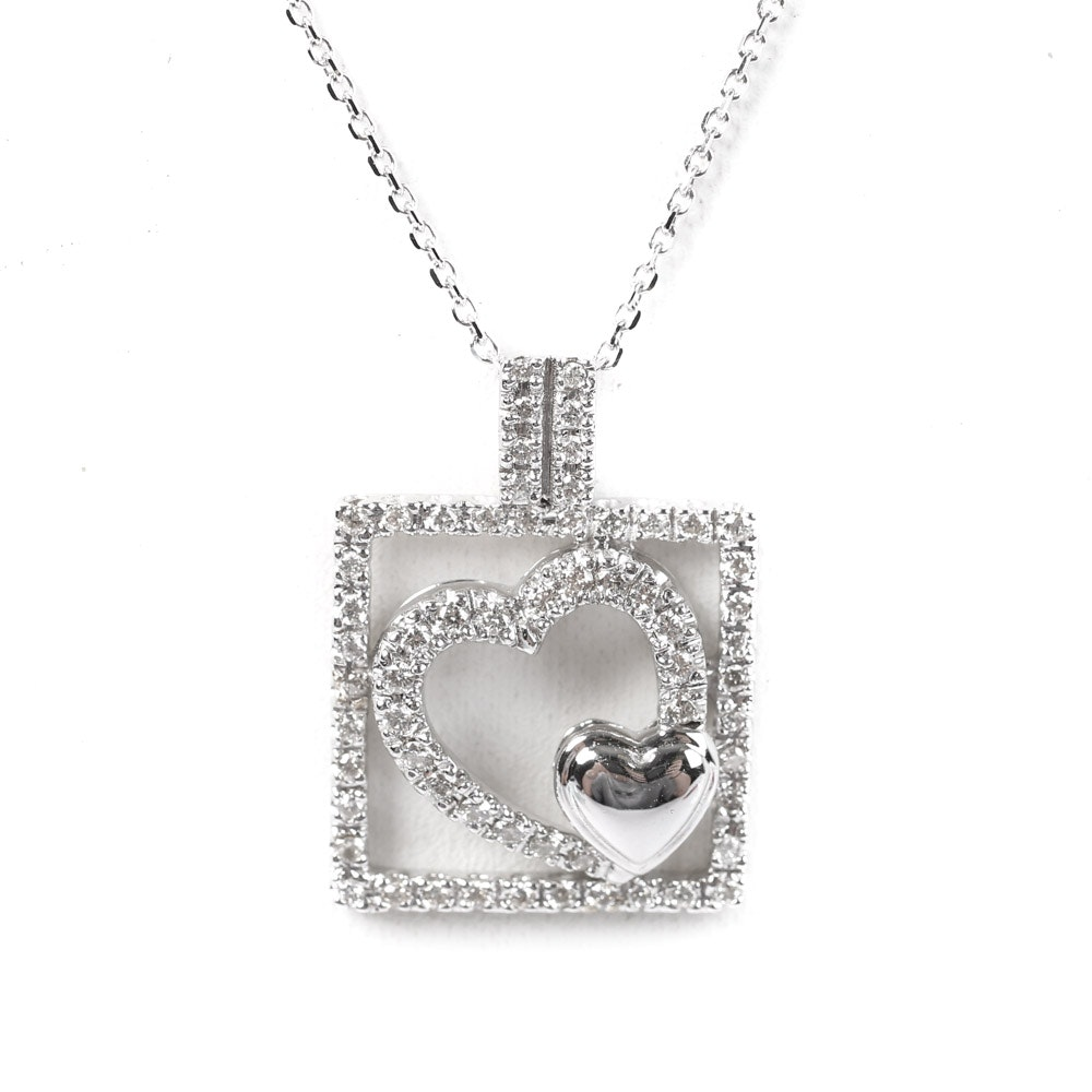18K White Gold and Diamond Pendant With 14K White Gold Chain