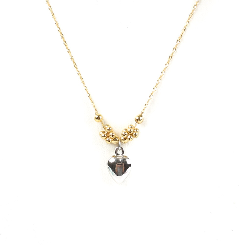 14K Yellow Gold Chain and 14K White Gold Puffed Heart Pendant