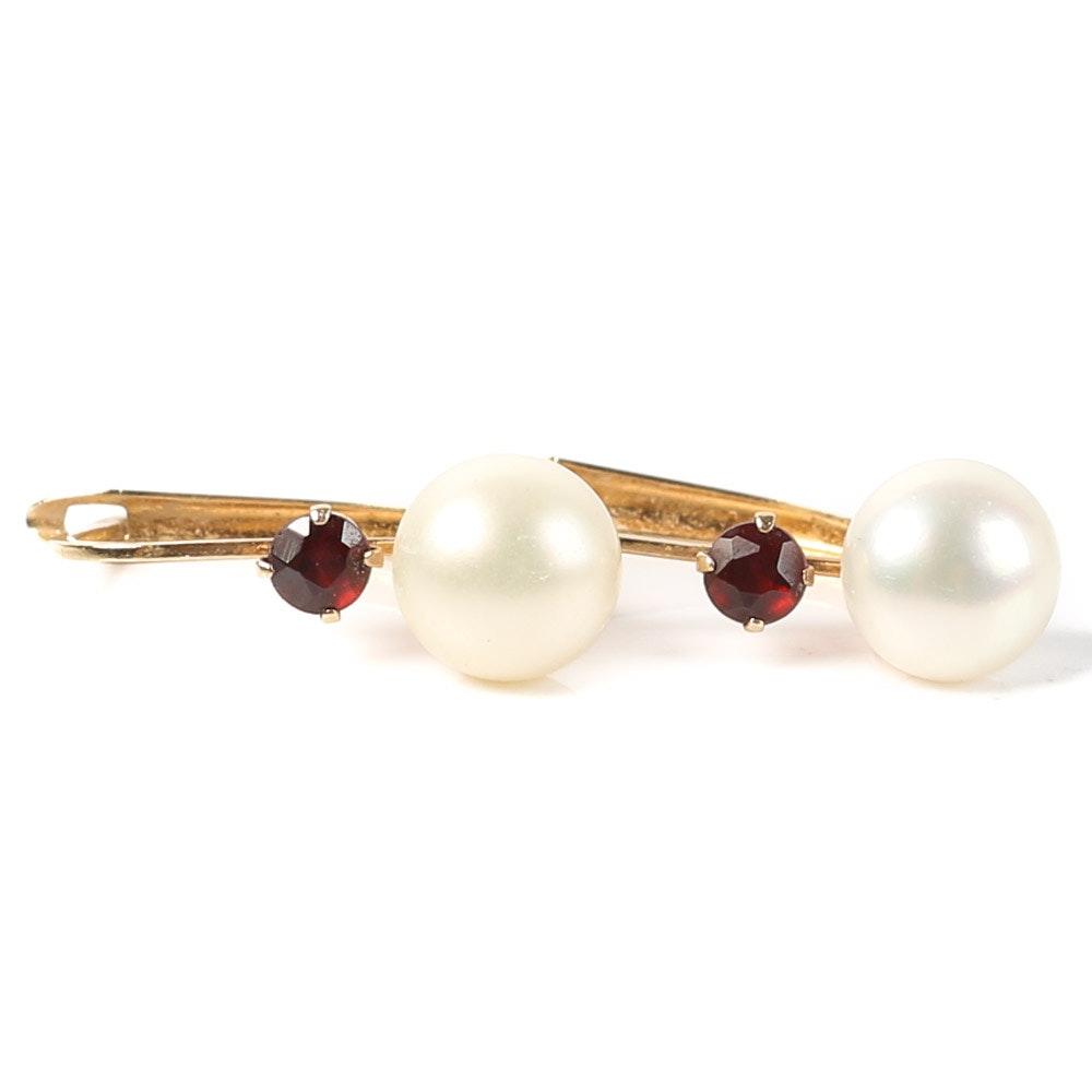 14K Yellow Gold, Freshwater Pearl, and Garnet Earrings