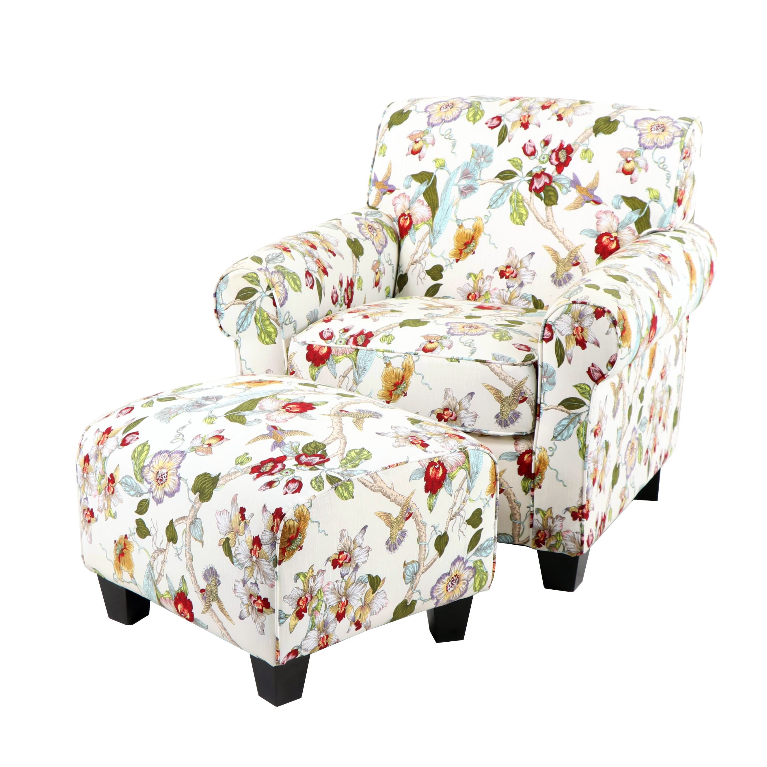 Floral Upholstered Armchair and Ottoman by Handy Living