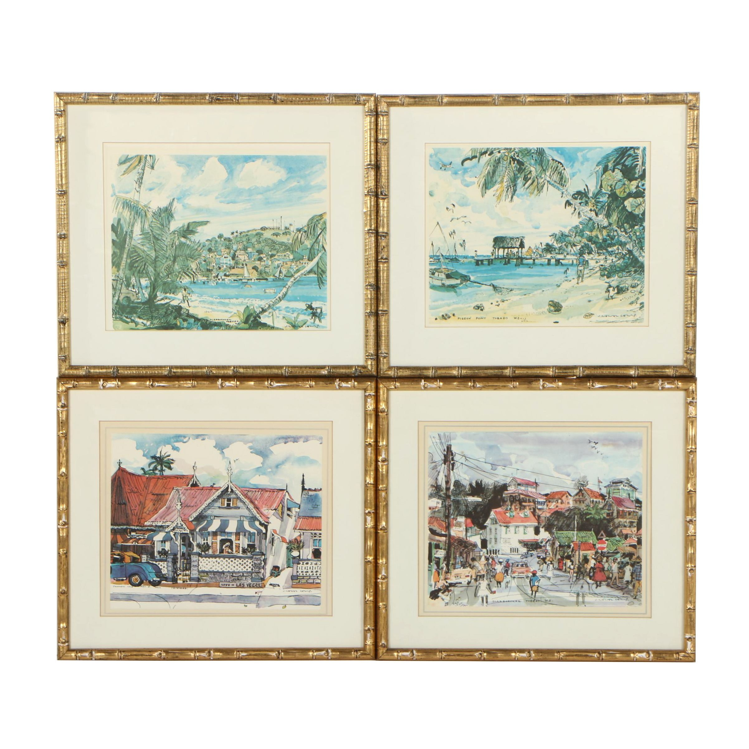 Offset Lithographs after John Newel Lewis of Trinidad and Tobago