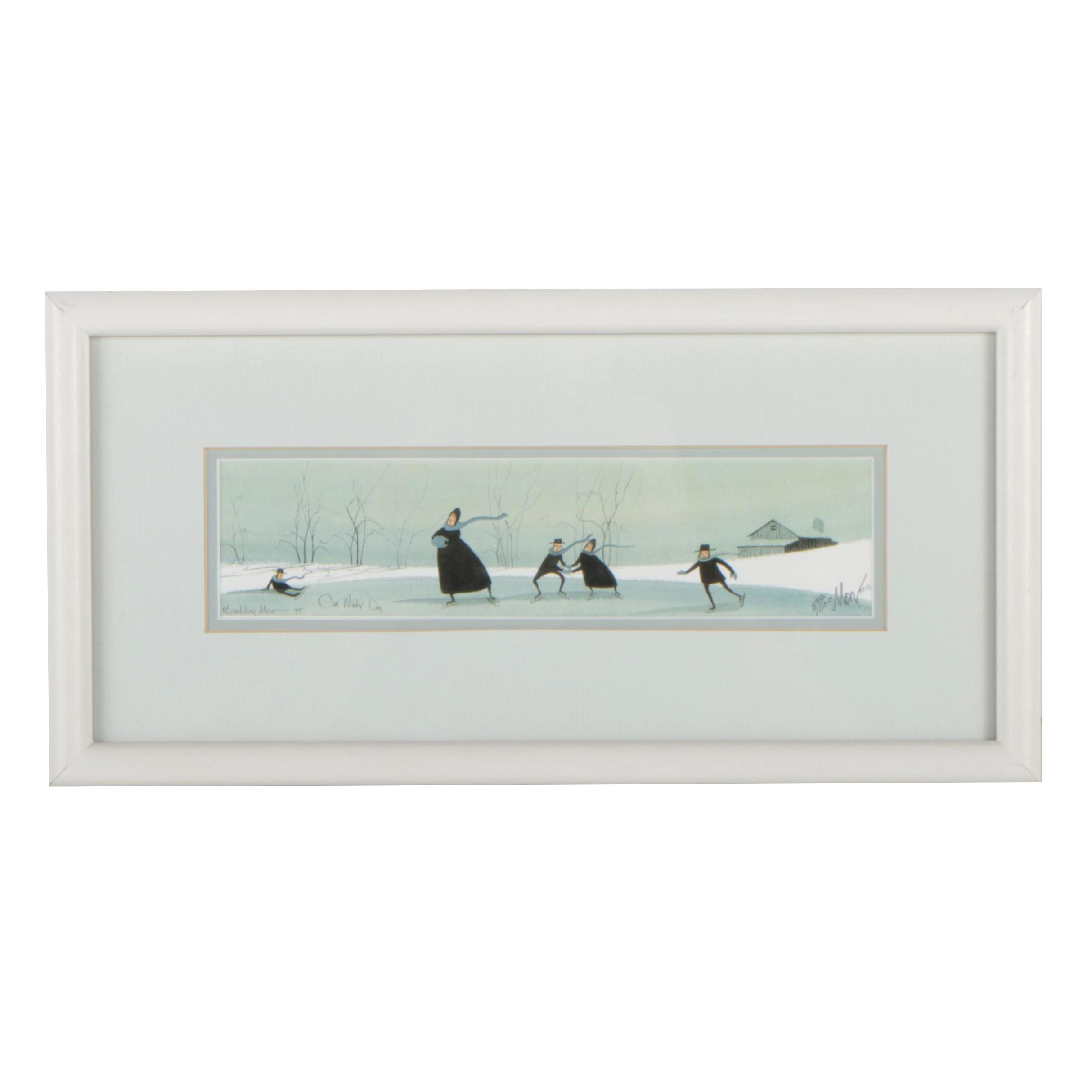 """P. Buckley Moss Limited Edition Offset Lithograph """"Our Winter Day"""""""