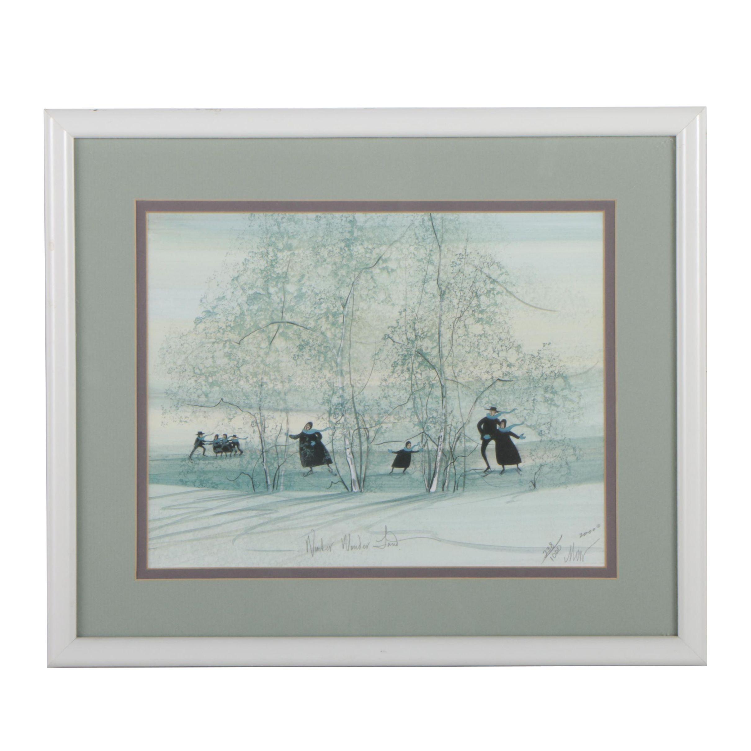 "P. Buckley Moss Limited Edition Offset Lithograph ""Winter Wonderland"""