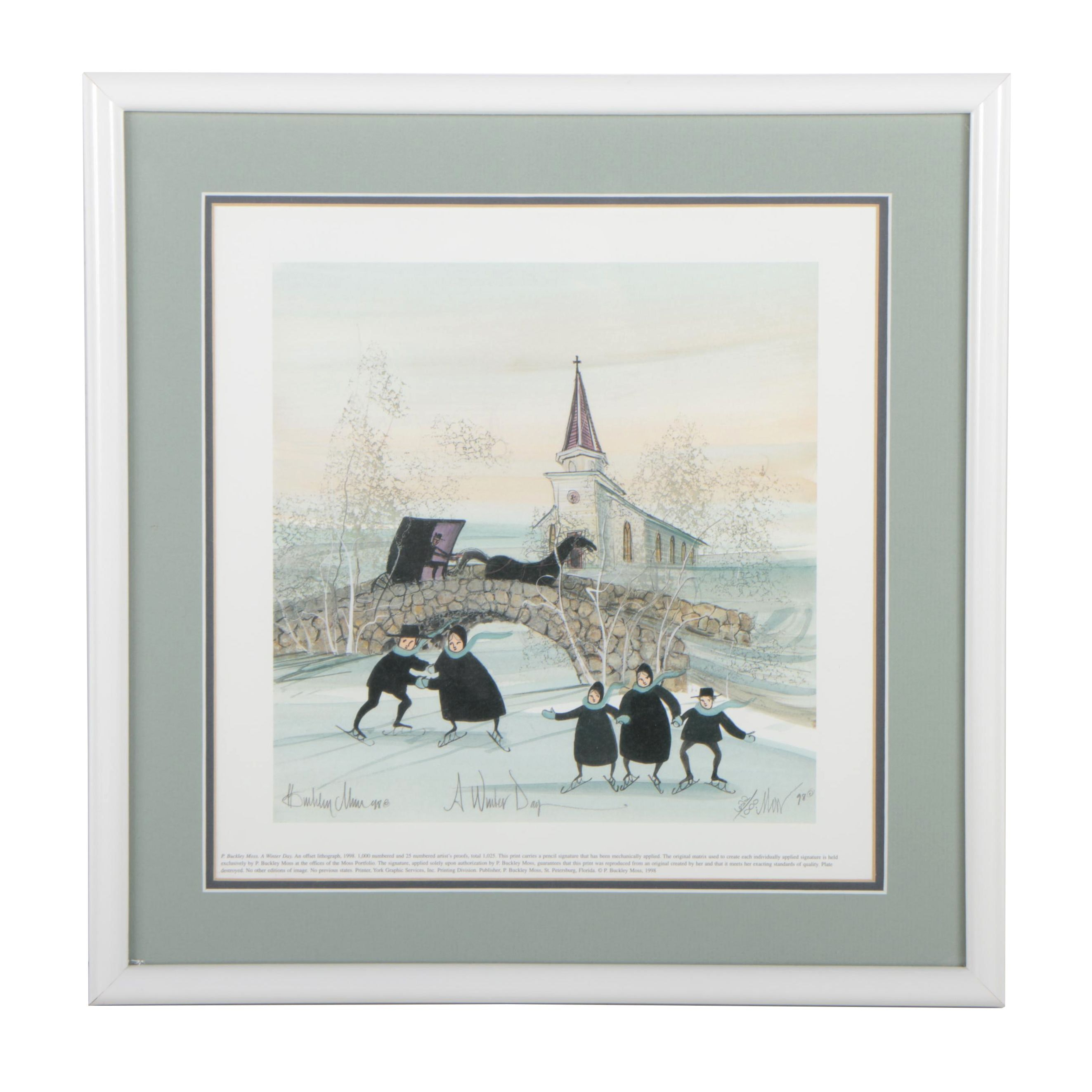 """P. Buckley Moss Limited Edition Offset Lithograph """"A Winter Day"""""""