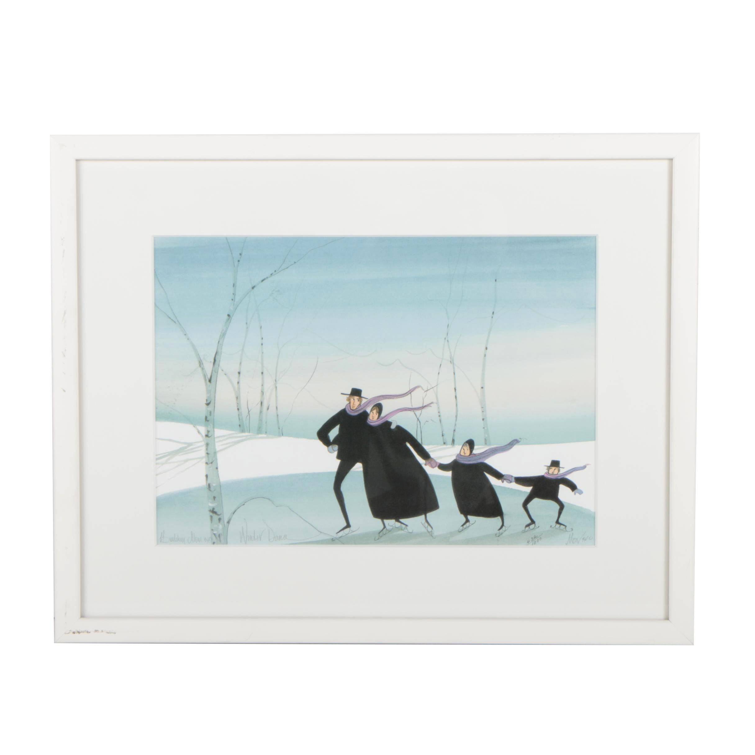 """P. Buckley Moss Limited Edition Offset Lithograph """"Winter Dance"""""""