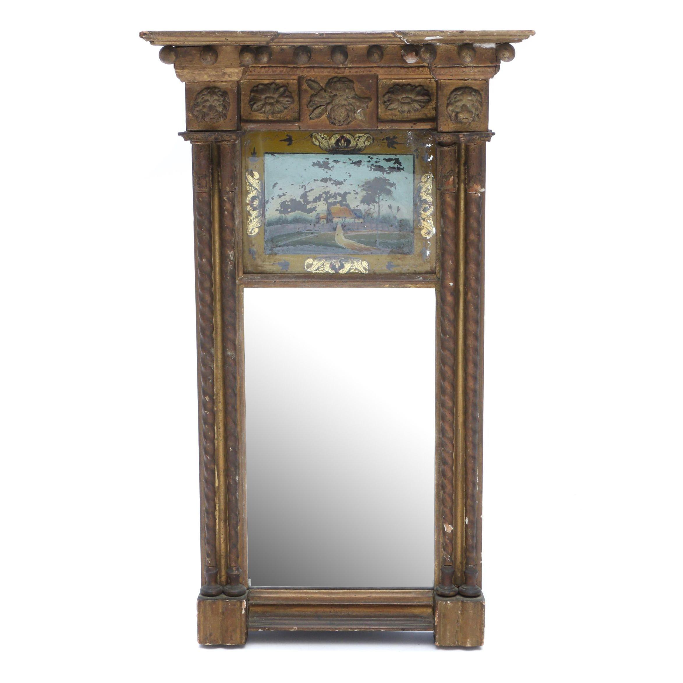 Antique Federal Pier Mirror with Églomisé Reverse Painting