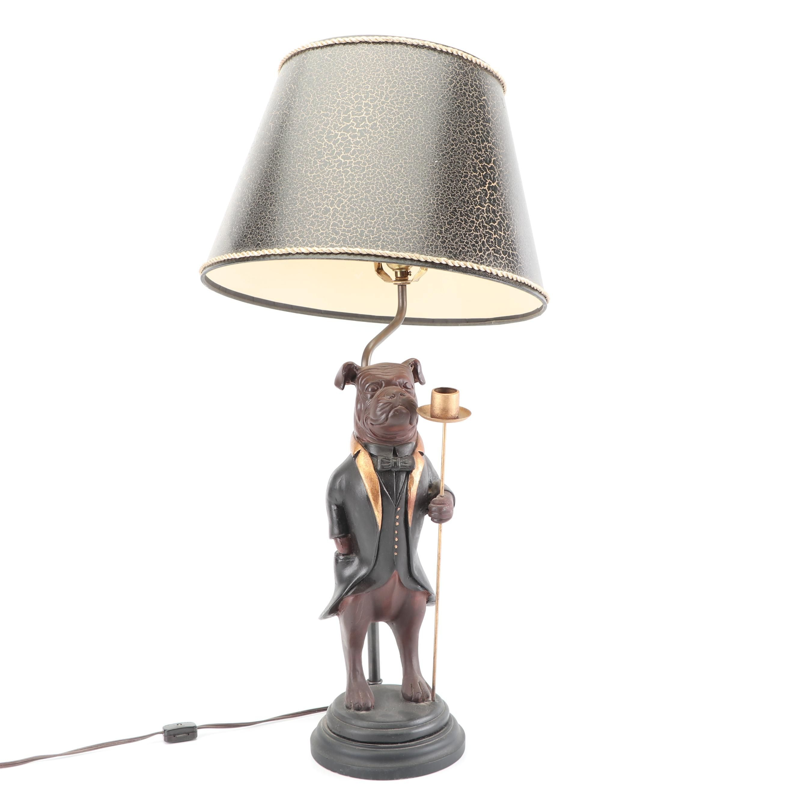 Figural Dog in Formal Attire Table Lamp