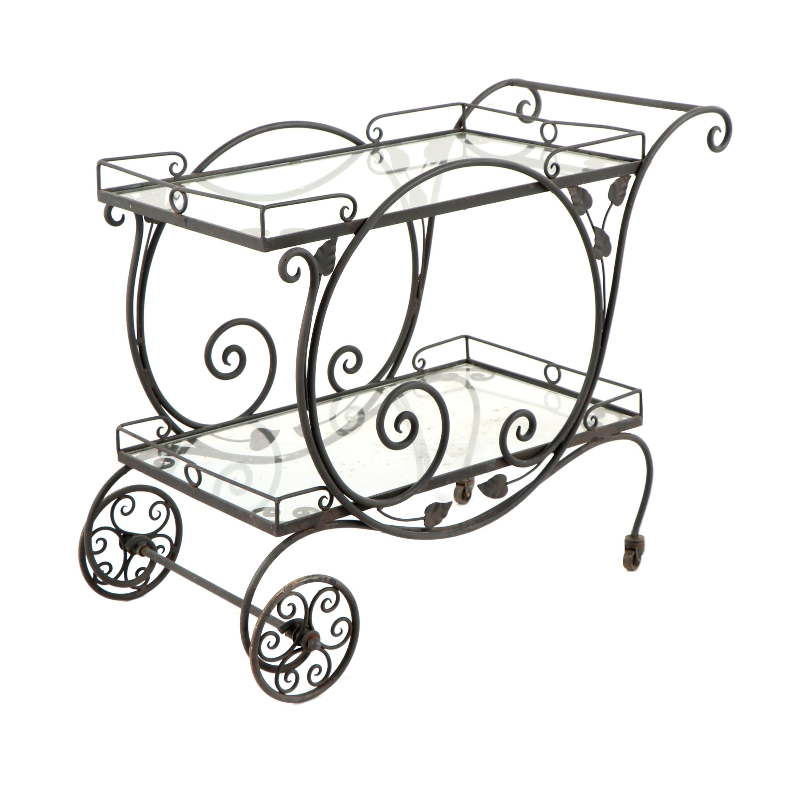 Outdoor Scroll Motif Metal Bar Cart with Glass Shelves