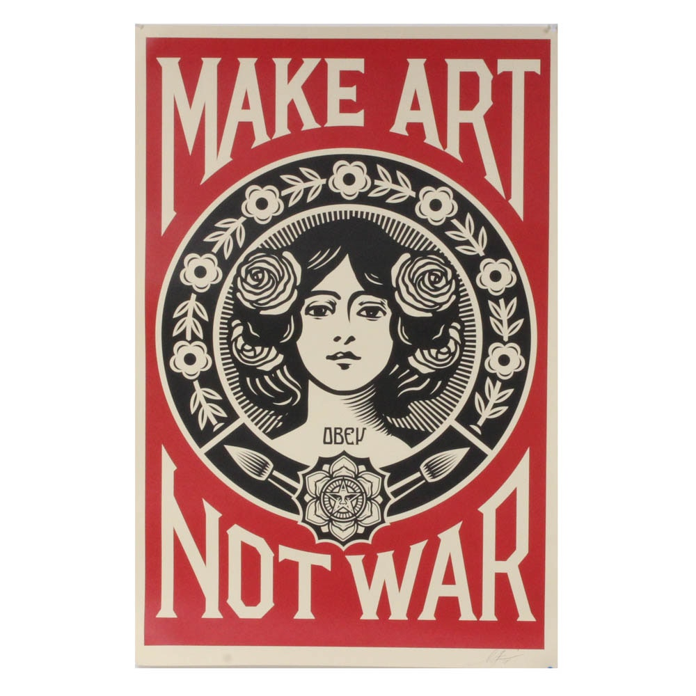 "Shepard Fairey ""Make Art Not War"" Print"
