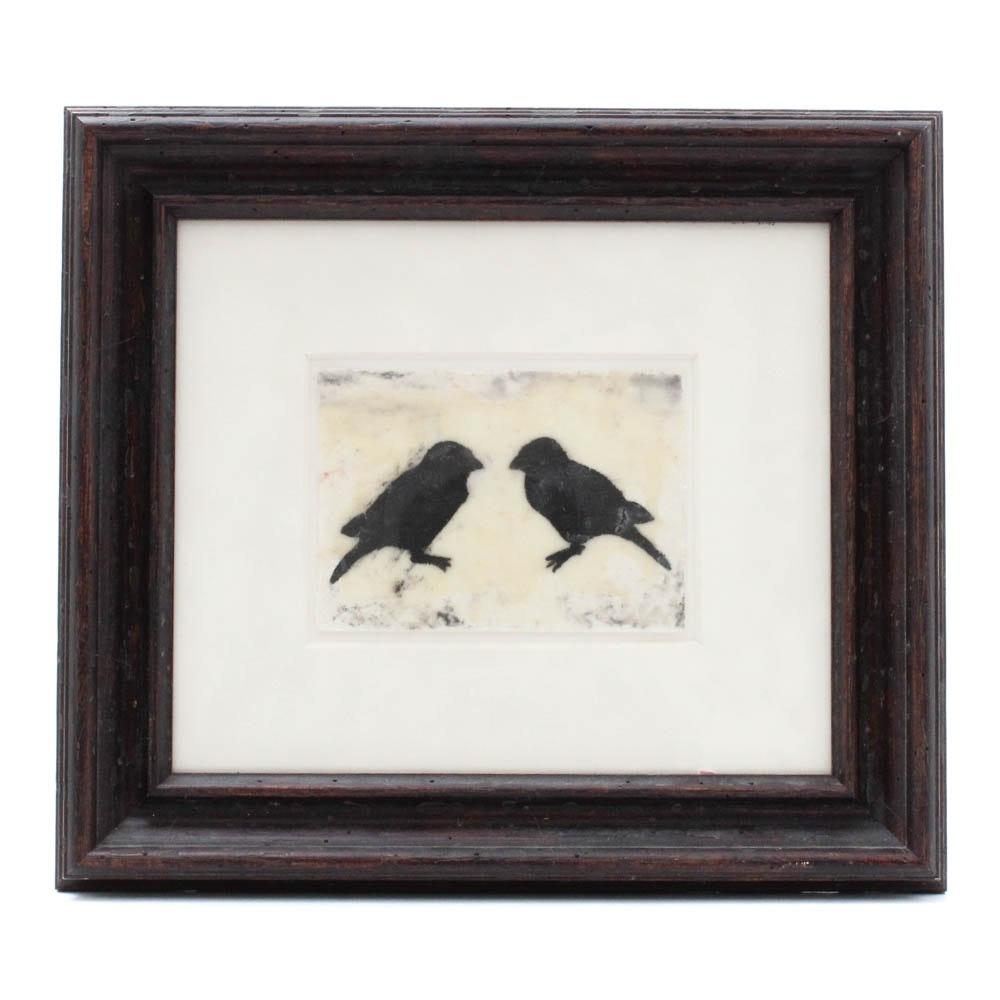 """Black Sparrows"" Mixed Media Artwork by Tara Veach"