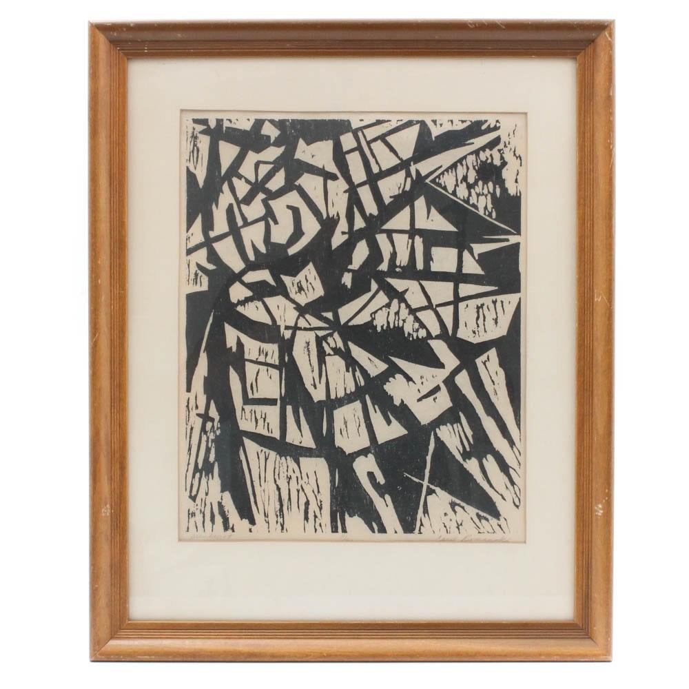 "Carol Romanski ""Sunburst"" Woodcut Print"