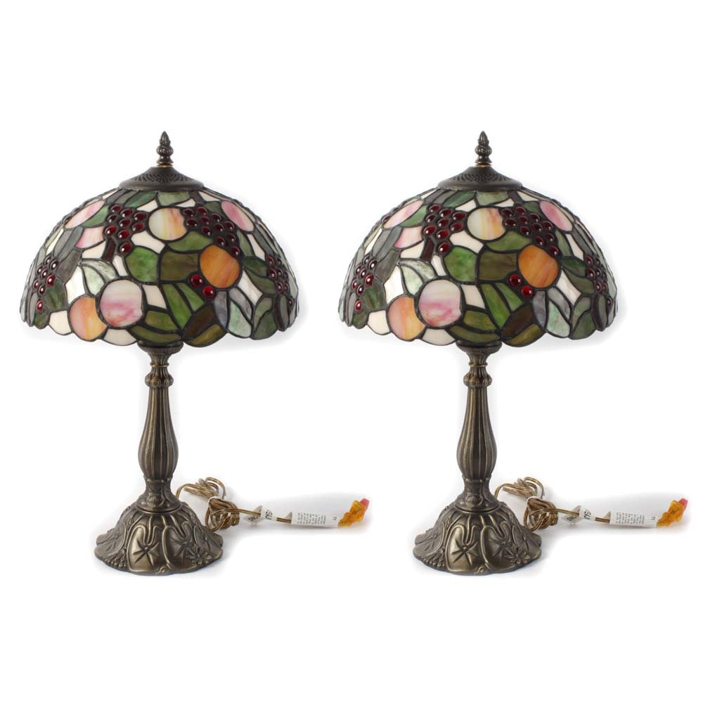Tiffany Style Slag Glass Table Lamps