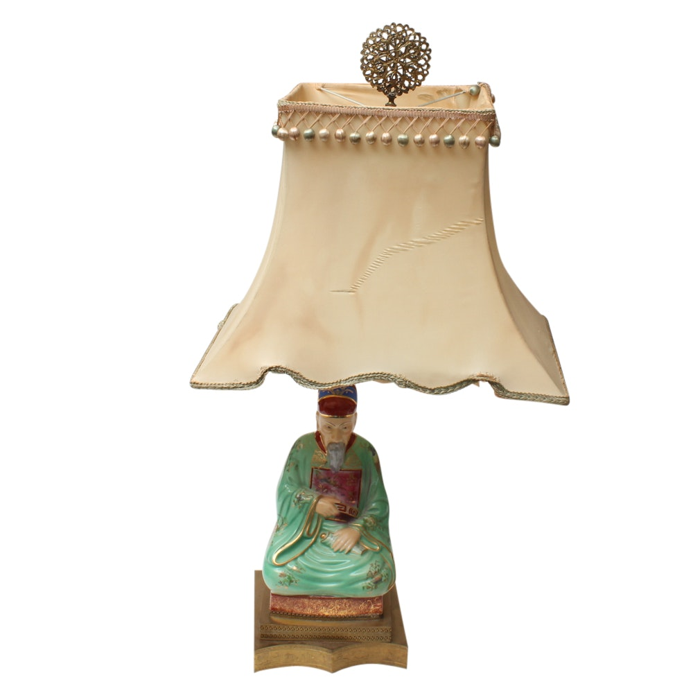 Vintage Chinese Figural Ceramic Table Lamp