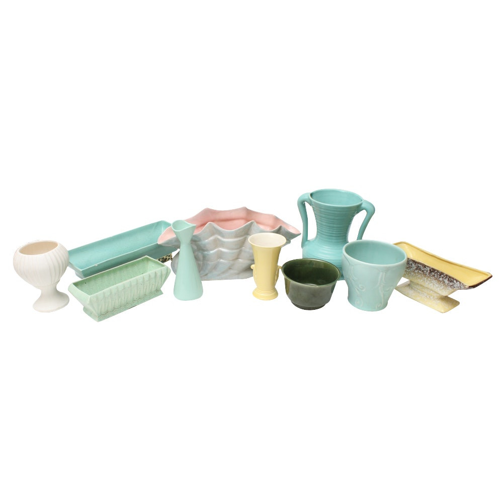 Mid Century Ceramic Planters Including McCoy, Brush Pottery and Hyalyn
