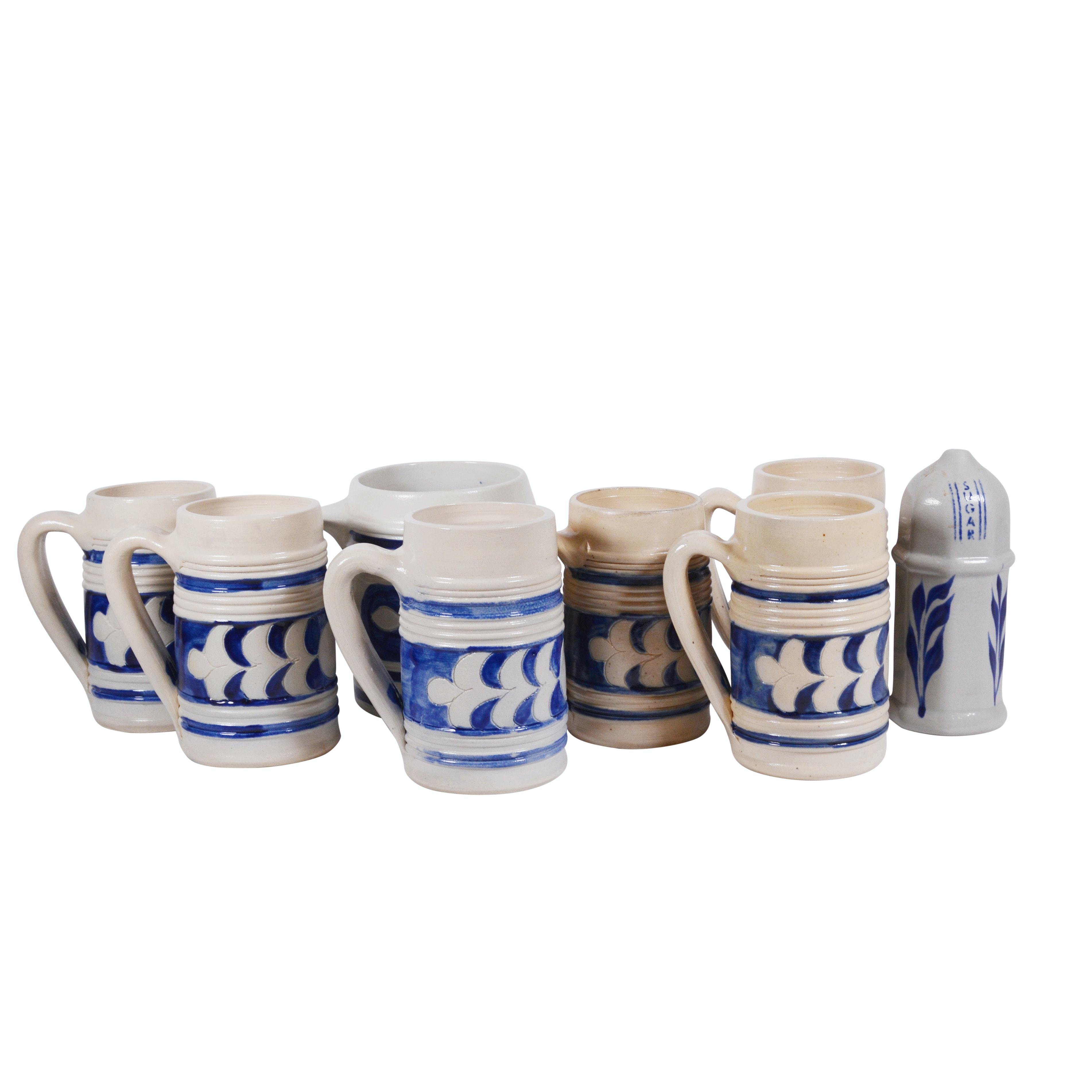 Colonial Williamsburg Stoneware Mugs and Sugar