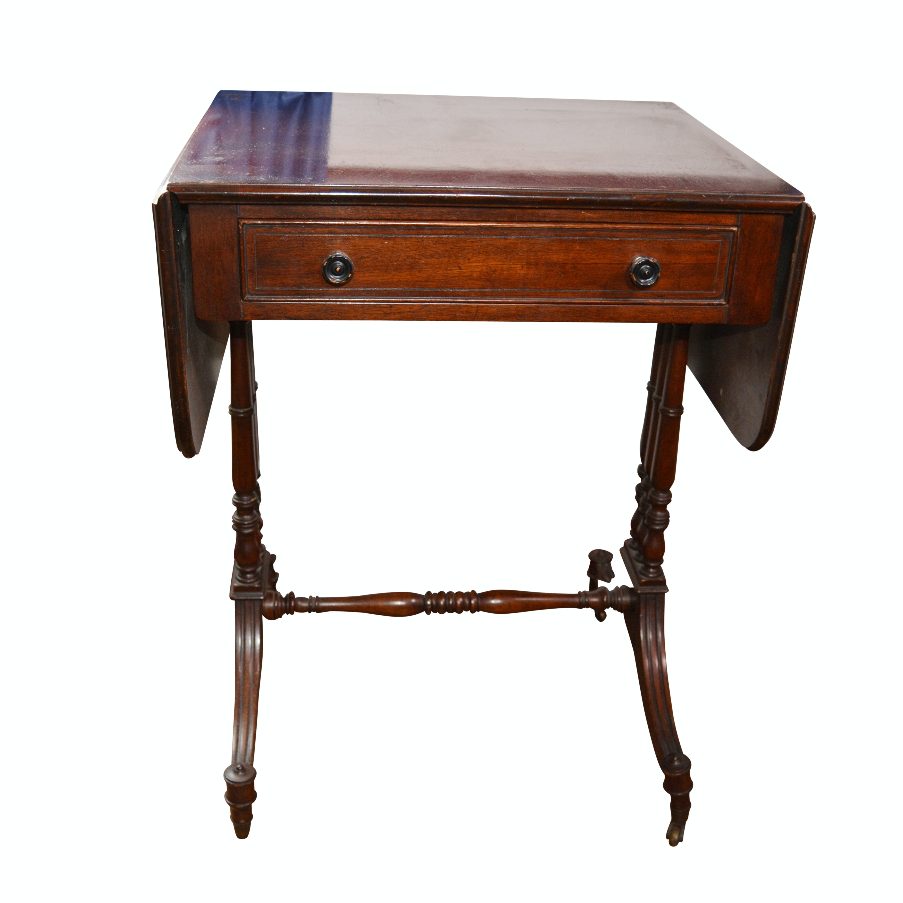 Regency Style Mahogany Drop-Leaf Side Table, 20th Century