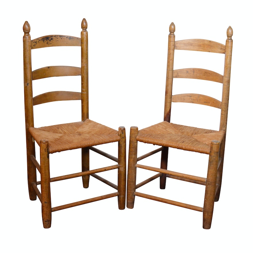 Antique Ladder Back Rush Seat Chairs ... - Antique Ladder Back Rush Seat Chairs : EBTH