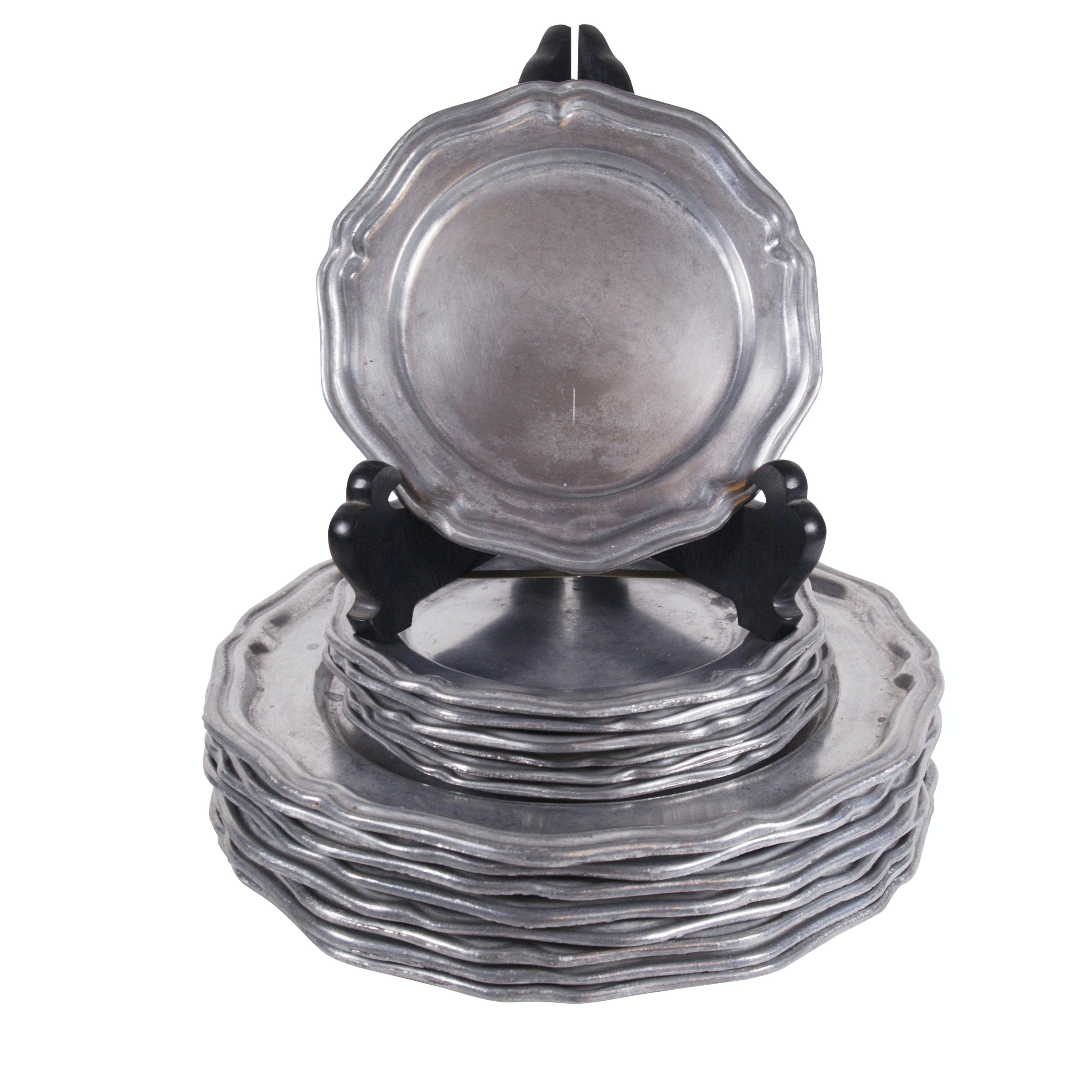 Vintage Crown-Castle Ltd Pewter Plates