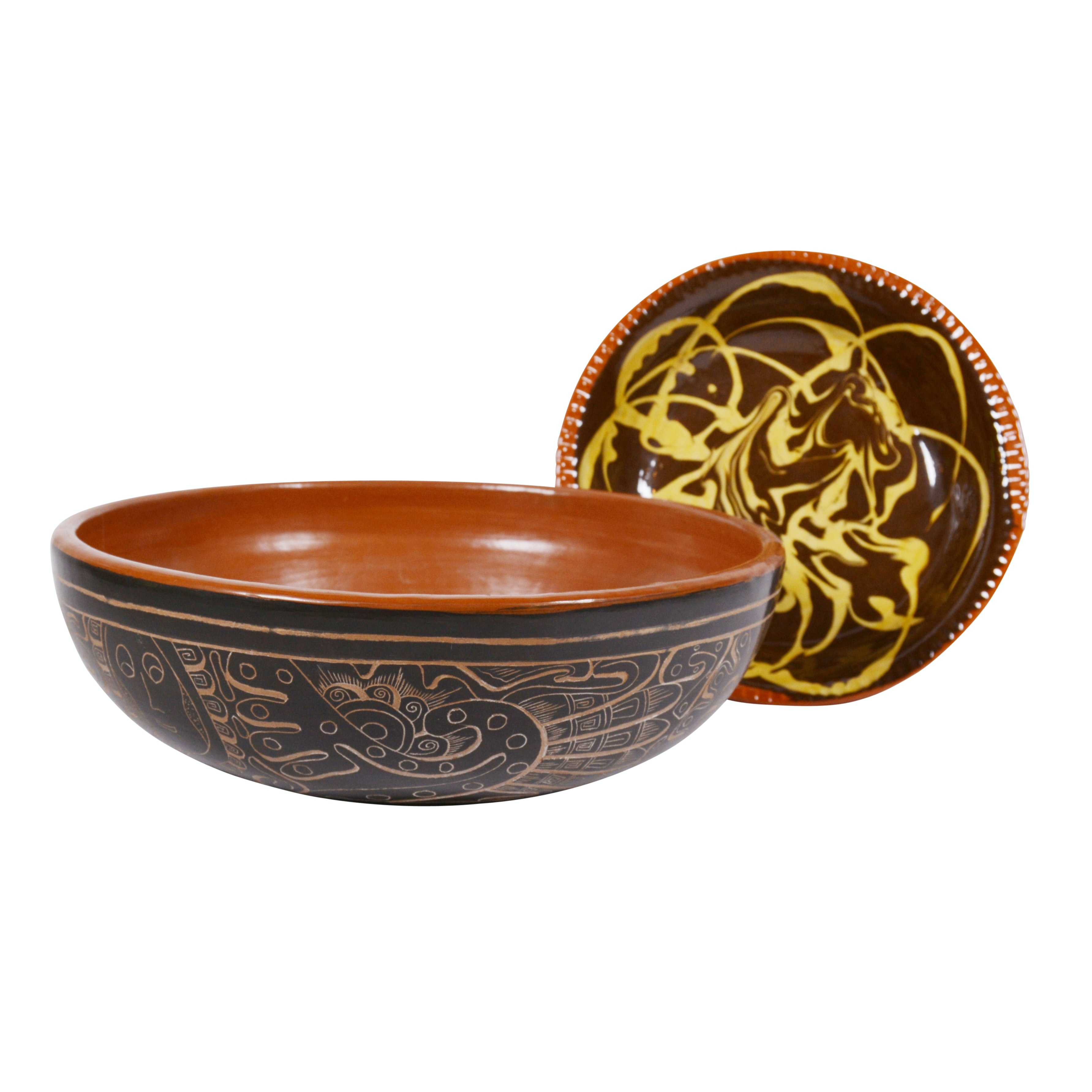 Nicaraguan Sgraffito Earthenware Bowl with Redware Plate