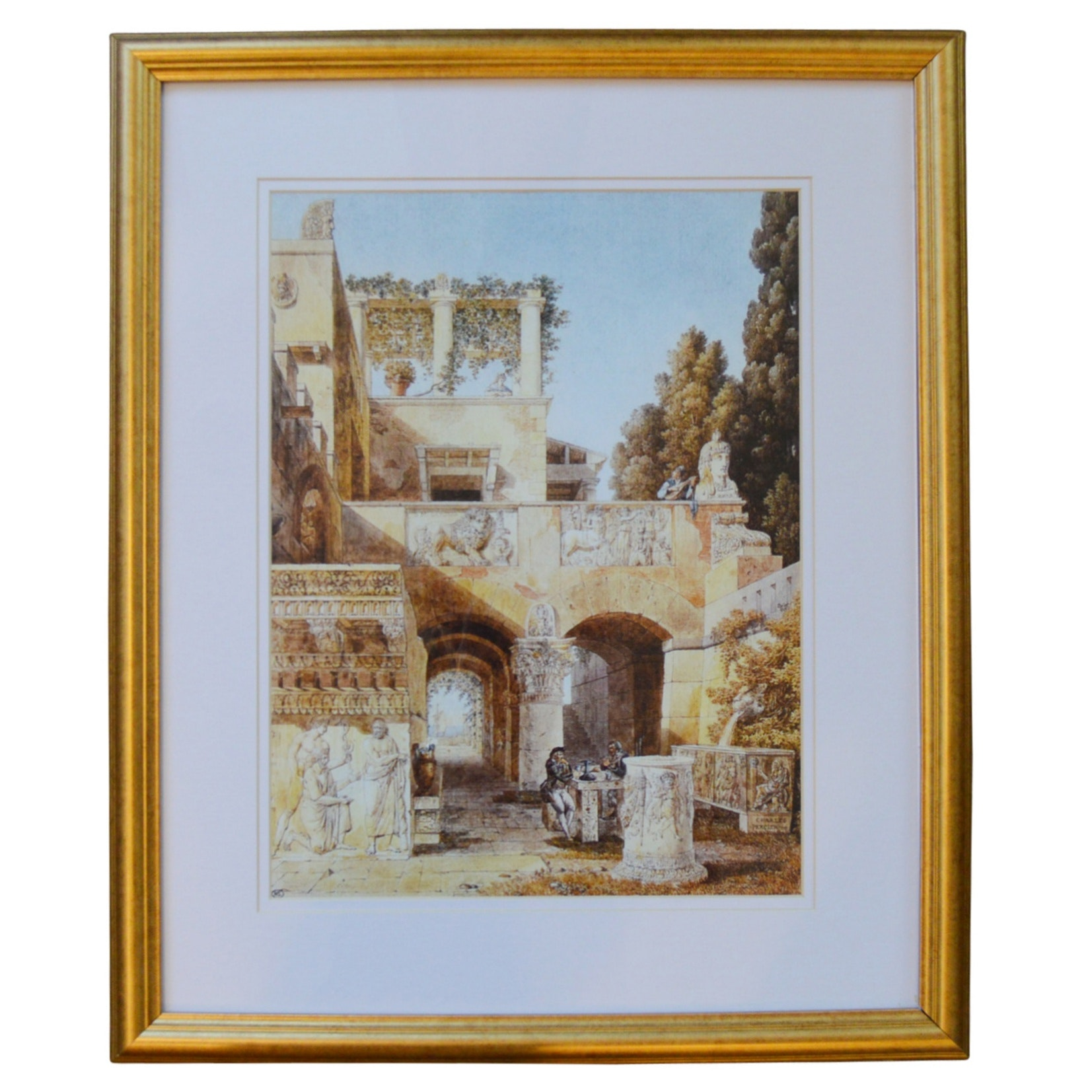 Framed Lithograph of Classical Ruins