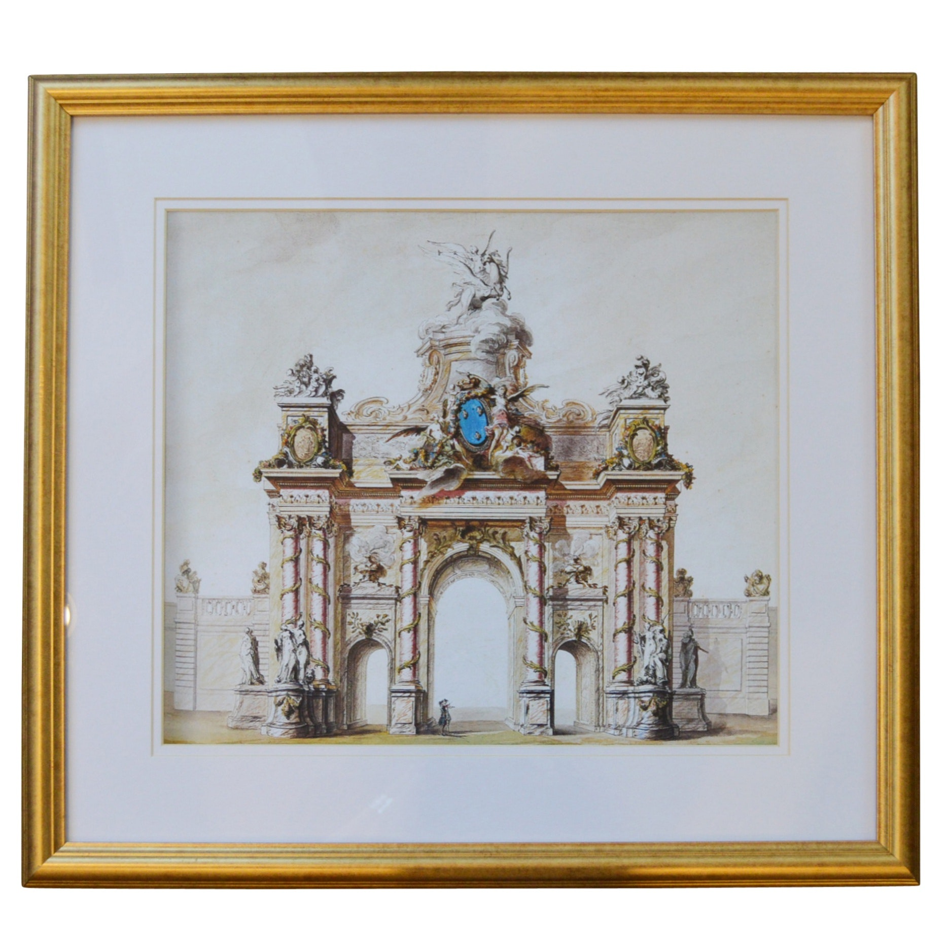 Framed Lithograph of a Classical Triumphal Arch